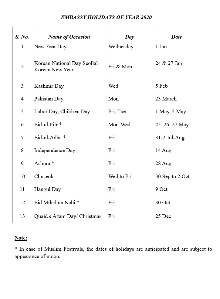 LIST OF HOLIDAYS DURING THE YEAR | Embassy of Pakistan, Republic of Korea